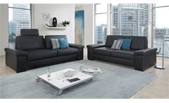 Sofa 2,5-Sitzer Couch Polstersofa Sitzmöbel Tortona Leder schwarz Federkern 208