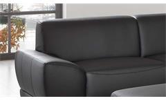 Sofa Manila 3-Sitzer Couch in schwarz mit Federkern und Vollschaum Länge 218 cm