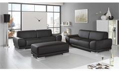 Sofagarnitur MANILA 3-Sitzer 2-Sitzer Hocker in schwarz mit Federkern