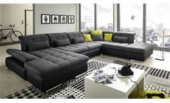 Wohnlandschaft SANTA FE in schwarz anthrazit mit Sitztiefenverstellung