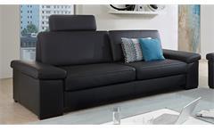 Sofa PUZZLE 3-Sitzer in Lederlook schwarz mit Federkern Breite 228 cm