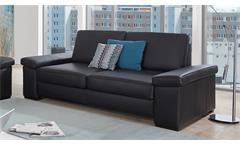 Sofa PUZZLE 2-Sitzer in Lederlook schwarz mit Federkern Breite 208 cm