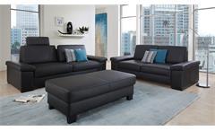 Sofagarnitur Puzzle 3-Sitzer 2-Sitzer Couch Set in Lederlook schwarz 2-teilig
