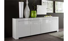 Sideboard Amalfi Wohnzimmer Kommode in weiß echt hochglanz lackiert 210cm breit