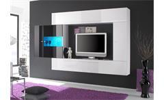 Wohnwand PRIMO A weiß und schwarz Hochglanz lackiert