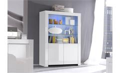 Vitrine Amalfi Wohnzimmer Esszimmer Schrank echt weiß hochglanz lackiert 4-türig