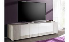 TV-Lowboard MARS Weiß Hochglanz lackiert und Pinie Weiß