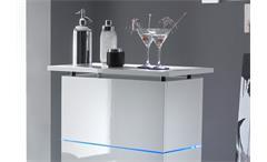 Bartresen Primo Bar-Tisch Standtisch in weiß echt hochglanz lackiert mit Glasböden