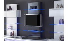 TV-Wohnwand Primo Anbauwand Kombination in weiß fango hochglanz lackiert