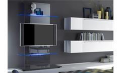 Wohnwand Primo Mediawand Anbauwand in weiß anthrazit hochglanz lackiert
