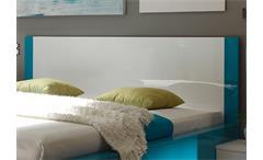 Bett Amata weiß und türkis Hochglanz lackiert 180x200 cm