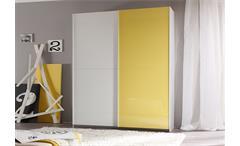 Schwebetürenschrank Smart Kleiderschrank weiß und gelb Hochglanz lackiert 179 cm