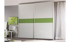 Schwebetürenschrank Smart Kleiderschrank Weiß Kiwi Grün Hochglanz B 240 cm