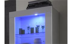 Hochschrank Vitrine Amalfi in weiß hochglanz lackiert mit Glastür