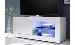 TV-Element BASIC Weiß lackiert B 140 cm 1 Tür 2 Fächer