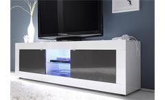 TV-Element Basic Lowboard Kommode weiß und anthrazit lackiert B 181 cm