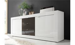 Sideboard Basic Kommode weiß und anthrazit lackiert B 210 cm