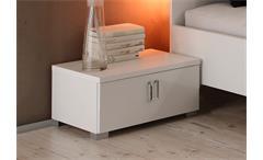 Nachtkommode Lidia 2er Set Nachtkonsole Schlafzimmer weiß Hochglanz lackiert H 26 cm