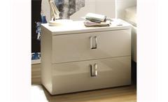 Nachtkommode Lidia 2er Set Nachtkonsole Schlafzimmer weiß Hochglanz lackiert H 43 cm