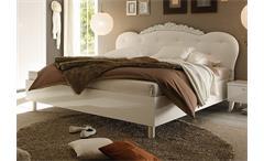 Bett Dea Doppelbett weiß Hochglanz Kopfteil Lederlook weiß 180x200 cm