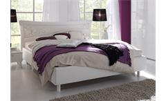 Polsterbett Sibilla Bett Lederlook weiß Kopfteil mit Siebdruck 160x200 cm