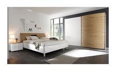 Schlafzimmer-Set Tambura Bett Schweber Nakos weiß Lack Eiche natur