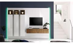 Wohnwand Cube 2 Kombi 1 Anbauwand in weiß Hochglanz Lack und Eiche