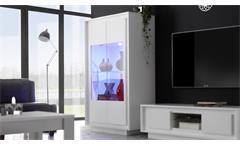 Vitrine Sky Vitrinenschrank Wohnzimmer Schrank in weiß matt mit Softclose