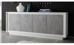 Sideboard SKY Kommode in weiß matt und Beton mit Softclose