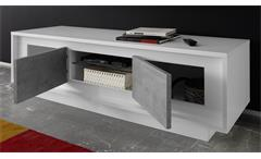 Wohnwand Sky Anbauwand Wohnzimmer Schrank in weiß matt und Beton mit Softclose