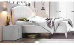 Bettanlage Mare Bett Doppelbett Polsterbett Bettgestell 2x Nachtkommode in weiß