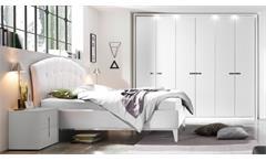 Schlafzimmer MARE Set in weiß Lack und Lederlook 4-teilig