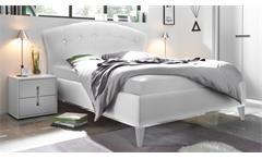 Schlafzimmer Mare Set Polsterbett Lederlook Kleiderschrank 2x Nako weiß Lack