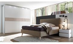 Schlafzimmer MARTE Set Polsterbett Lederlook hellbraun und weiß Eiche