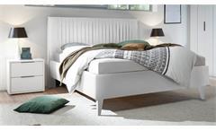 Bettanlage Venere Bett Doppelbett Polsterbett Lederlook 2x Nako weiß Lack matt