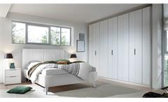 Schlafzimmer VENERE Set in weiß Lack matt Bett in Lederlook 4-tlg