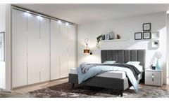 Schlafzimmer SOLE Set in anthrazit und weiß Lack matt mit Chrom