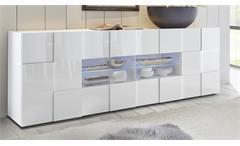 Sideboard Dama 3 Schrank Anrichte Kommode 241 cm in weiß Lack Wohnzimmer