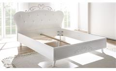 Polsterbett Livea Bett Doppelbett Bettgestell 180x200 weiß Lederlook und Melamin