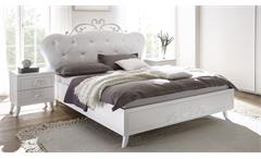 Bettanlage Livea Bett Doppelbett weiß Lederlook und Melamin mit 2x Nachtkommode