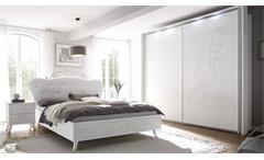 Schlafzimmer Set 4-teilig Livea weiß Melamin geriffelt Siebdruck Schrank 220 cm