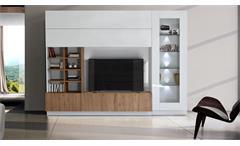 Wohnwand Line Compact 11 Weiß Lack mit Eiche Dekor