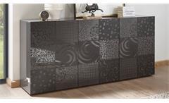 Sideboard Miros 5 Kommode in anthrazit Lack 3-türig mit Siebdruck