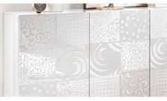 Sideboard MIROS 5 in Weiß Lack Front mit Siebdruck 181 cm