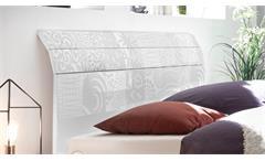 Bett XAOS matt weiß lackiert Kopfteil mit Siebdruck 180x200