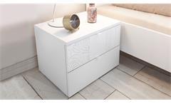 Schlafzimmer Set XAOS 38 weiß Mattlack mit Siebdruck 4-tlg