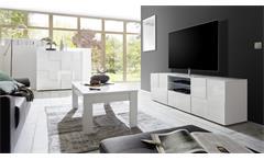 TV-Board Dama 2 weiß Hochglanz lackiert Lowboard 3D Optik