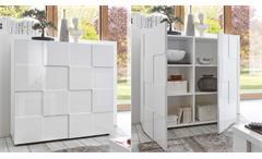 Highboard Dama Hochglanz weiß lackiert 3D-Look Schrank Wohnzimmer