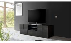 TV-Board Dama 2 Lowboard Unterschrank anthrazit Hochglanz Lack 3D Optik 181 cm