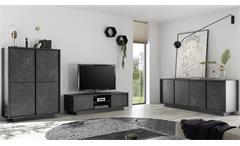 Wohnwand Marmor anthrazit Wohnzimmer 3-tlg Lowboard Highboard Sideboard Carrara